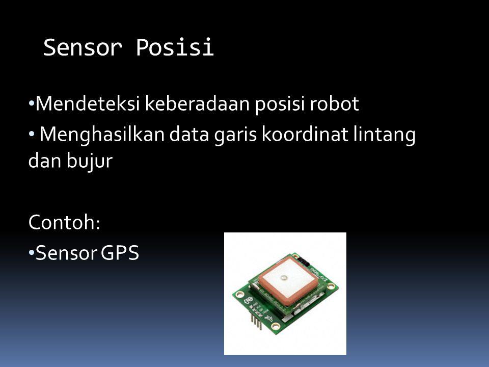 Mendeteksi keberadaan posisi robot Menghasilkan data garis koordinat lintang dan bujur Contoh: Sensor GPS Sensor Posisi