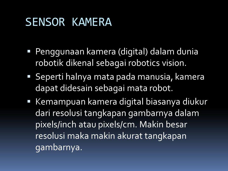 SENSOR KAMERA  Penggunaan kamera (digital) dalam dunia robotik dikenal sebagai robotics vision.  Seperti halnya mata pada manusia, kamera dapat dide