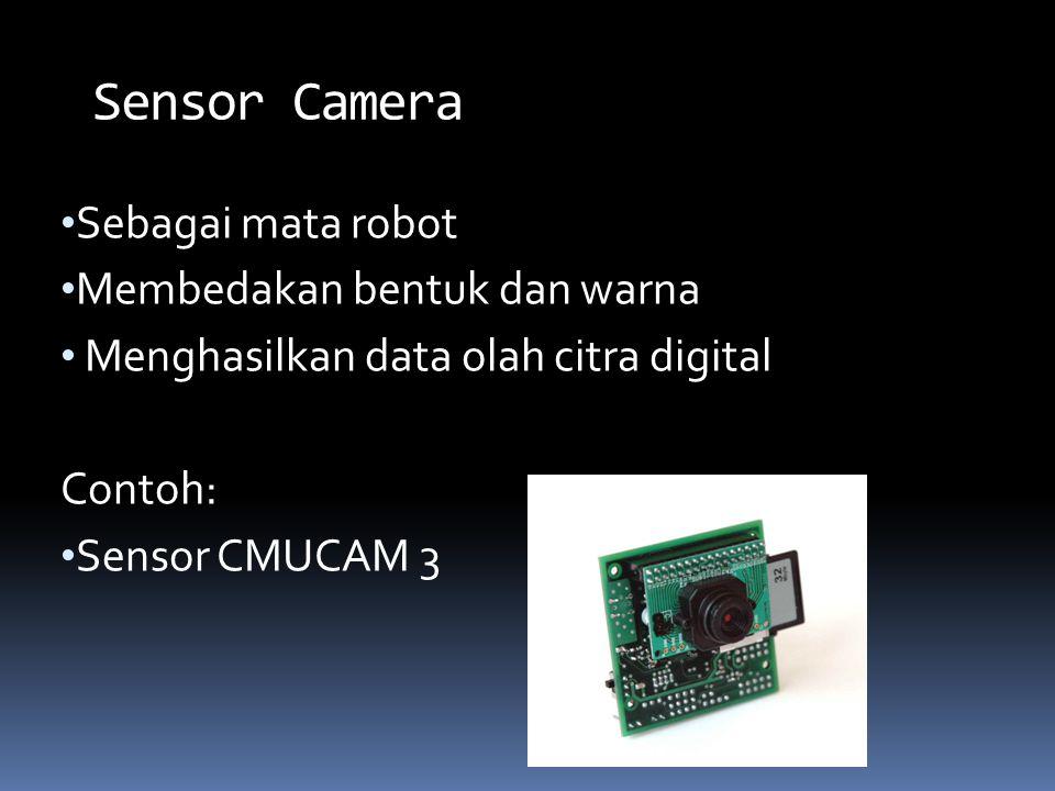 Sebagai mata robot Membedakan bentuk dan warna Menghasilkan data olah citra digital Contoh: Sensor CMUCAM 3 Sensor Camera