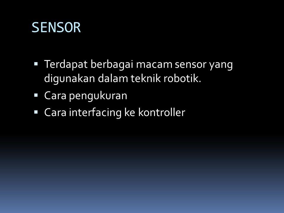 Klasifikasi sensor berdasarkan tipe output Output SensorContoh Aplikasi / sensor Biner (1/0)Sensor tactile (limit switch, TX-RX infra - Merah Analog, misal ( 0 – 5 ) VSensor Temperature, accelerometer Pulsa, misal PWMGiroskop digital Data Serial, misal RS232C atau USBModul GPS Jalur paraller / BusKamera digital, rotary encoder dilengkapi IC HCTL2000/2020