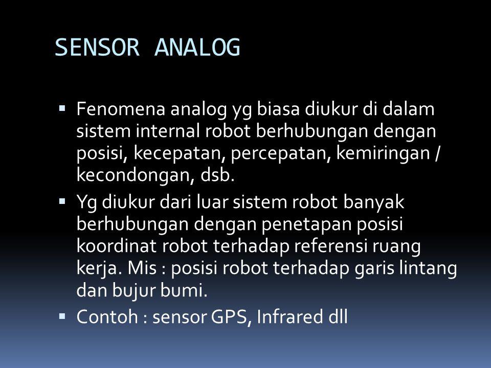 SENSOR ANALOG  Fenomena analog yg biasa diukur di dalam sistem internal robot berhubungan dengan posisi, kecepatan, percepatan, kemiringan / kecondon