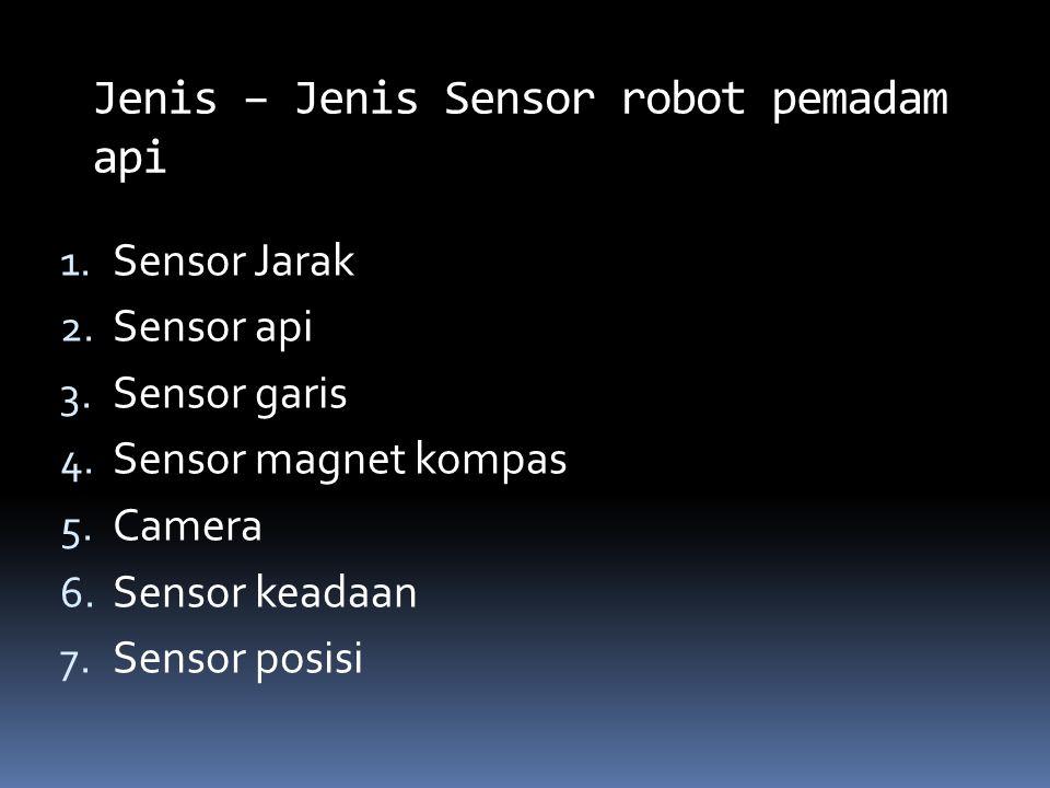 1. Sensor Jarak 2. Sensor api 3. Sensor garis 4. Sensor magnet kompas 5. Camera 6. Sensor keadaan 7. Sensor posisi Jenis – Jenis Sensor robot pemadam