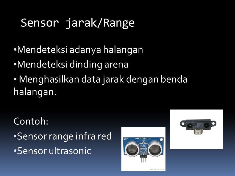 Mendeteksi adanya halangan Mendeteksi dinding arena Menghasilkan data jarak dengan benda halangan. Contoh: Sensor range infra red Sensor ultrasonic Se