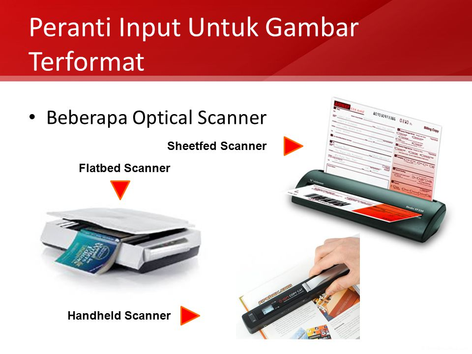 Peranti Input Untuk Gambar Terformat Beberapa Optical Scanner Flatbed Scanner Handheld Scanner Sheetfed Scanner