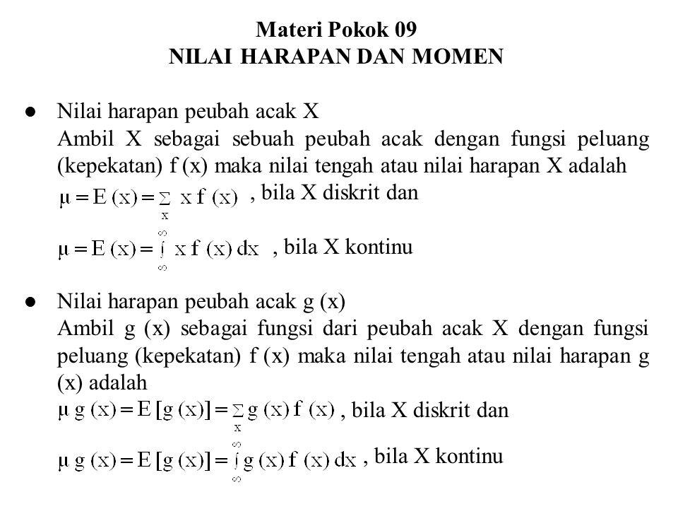 Materi Pokok 09 NILAI HARAPAN DAN MOMEN Nilai harapan peubah acak X Ambil X sebagai sebuah peubah acak dengan fungsi peluang (kepekatan) f (x) maka ni
