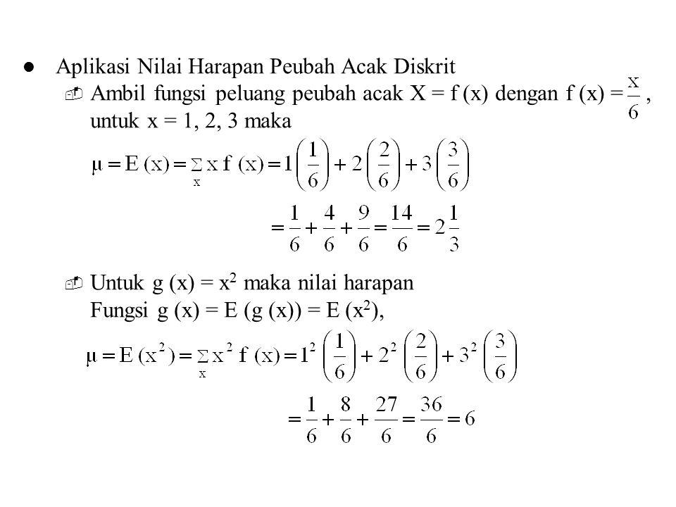 Aplikasi Nilai Harapan Peubah Acak Diskrit  Ambil fungsi peluang peubah acak X = f (x) dengan f (x) =, untuk x = 1, 2, 3 maka  Untuk g (x) = x 2 mak