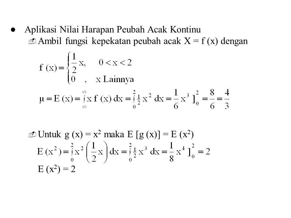 Aplikasi Nilai Harapan Peubah Acak Kontinu  Ambil fungsi kepekatan peubah acak X = f (x) dengan  Untuk g (x) = x 2 maka E [g (x)] = E (x 2 ) E (x 2