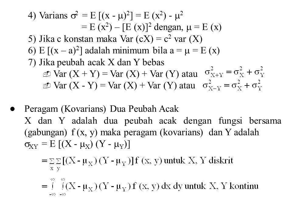 4)Varians  2 = E [(x -  ) 2 ] = E (x 2 ) -  2 = E (x 2 ) – [E (x)] 2 dengan,  = E (x) 5)Jika c konstan maka Var (cX) = c 2 var (X) 6)E [(x – a) 2
