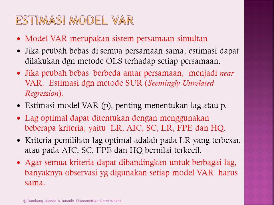 Model VAR merupakan sistem persamaan simultan Jika peubah bebas di semua persamaan sama, estimasi dapat dilakukan dgn metode OLS terhadap setiap persamaan.