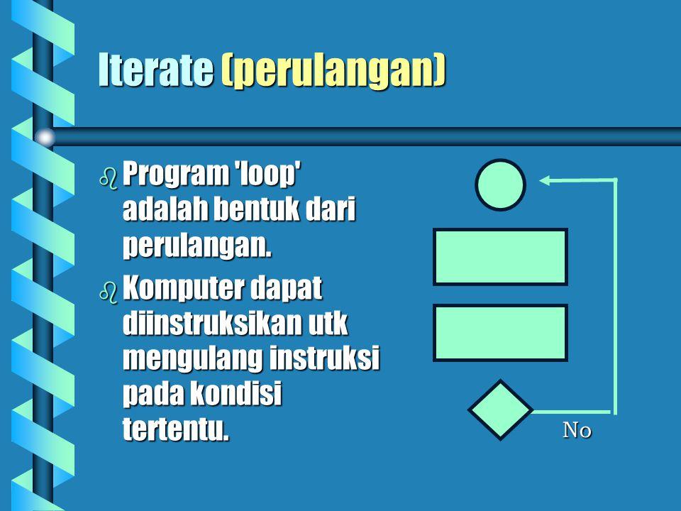 Iterate (perulangan)   Program loop adalah bentuk dari perulangan.