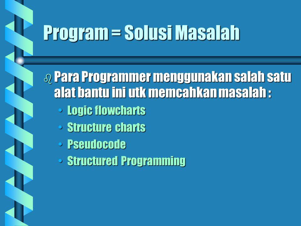 Program = Solusi Masalah  Para Programmer menggunakan salah satu alat bantu ini utk memcahkan masalah : Logic flowchartsLogic flowcharts Structure chartsStructure charts PseudocodePseudocode Structured ProgrammingStructured Programming