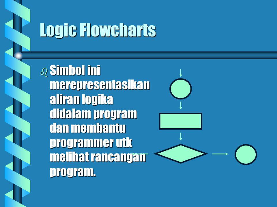 Logic Flowcharts  Simbol ini merepresentasikan aliran logika didalam program dan membantu programmer utk melihat rancangan program.