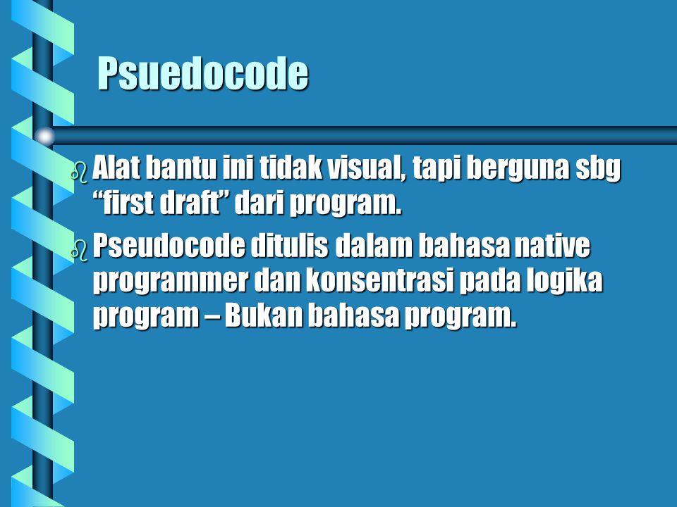 Psuedocode  Alat bantu ini tidak visual, tapi berguna sbg first draft dari program.
