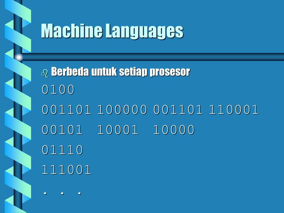 Machine Languages  Berbeda untuk setiap prosesor 0100 001101100000001101110001 001011000110000 01110111001...