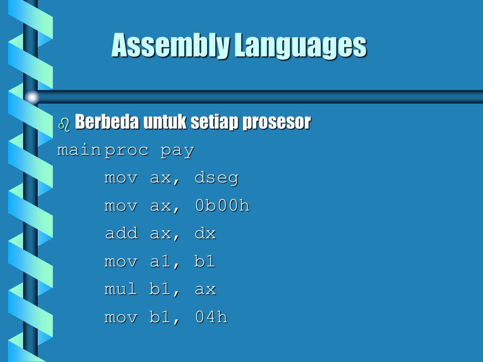 Assembly Languages  Berbeda untuk setiap prosesor mainproc pay mov ax, dseg mov ax, 0b00h add ax, dx mov a1, b1 mul b1, ax mov b1, 04h