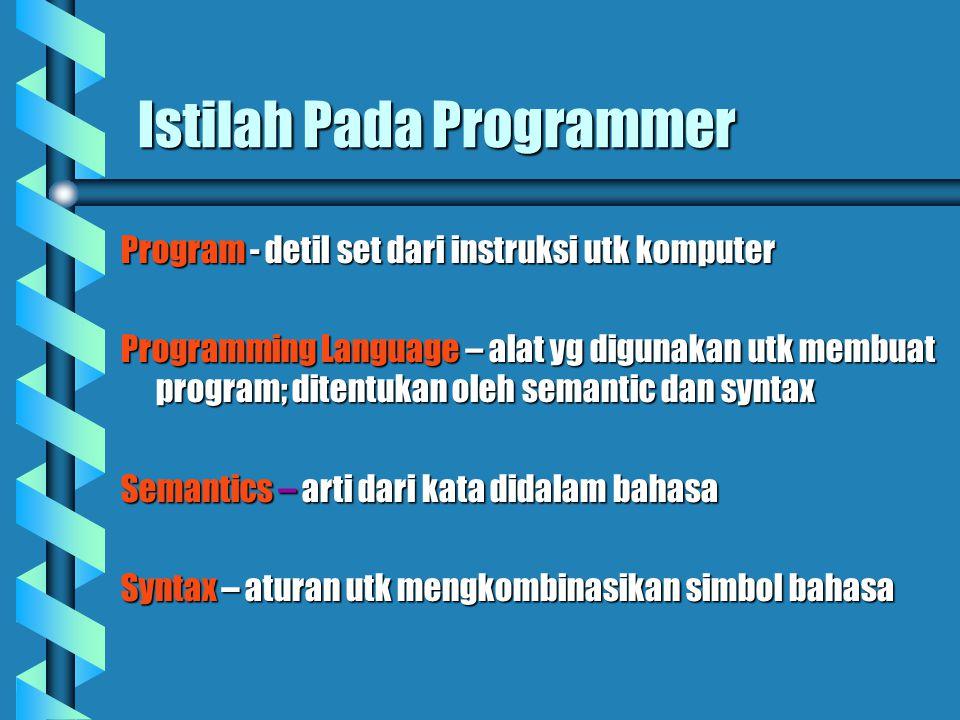 Istilah Pada Programmer Program - detil set dari instruksi utk komputer Programming Language – alat yg digunakan utk membuat program; ditentukan oleh semantic dan syntax Semantics – arti dari kata didalam bahasa Syntax – aturan utk mengkombinasikan simbol bahasa