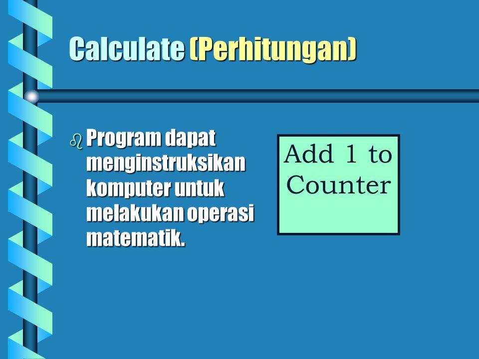Store (Menyimpan)   Program akan sering menginstruksikan komputer untuk menyimpan hasil operasi.