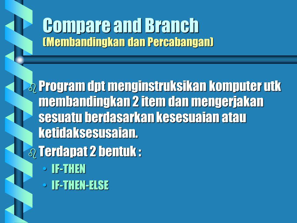Compare and Branch (Membandingkan dan Percabangan)   Program dpt menginstruksikan komputer utk membandingkan 2 item dan mengerjakan sesuatu berdasarkan kesesuaian atau ketidaksesusaian.