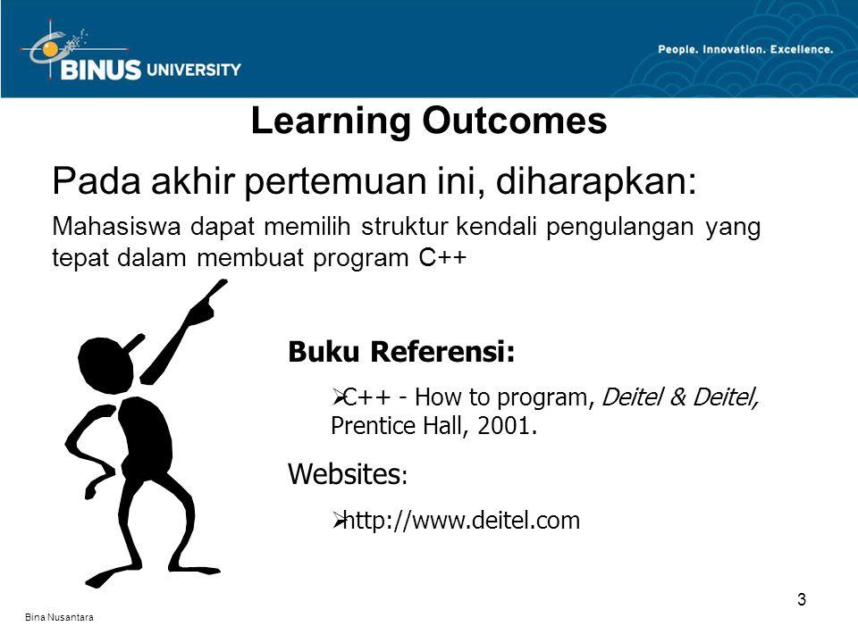 Bina Nusantara Learning Outcomes Pada akhir pertemuan ini, diharapkan: Mahasiswa dapat memilih struktur kendali pengulangan yang tepat dalam membuat p