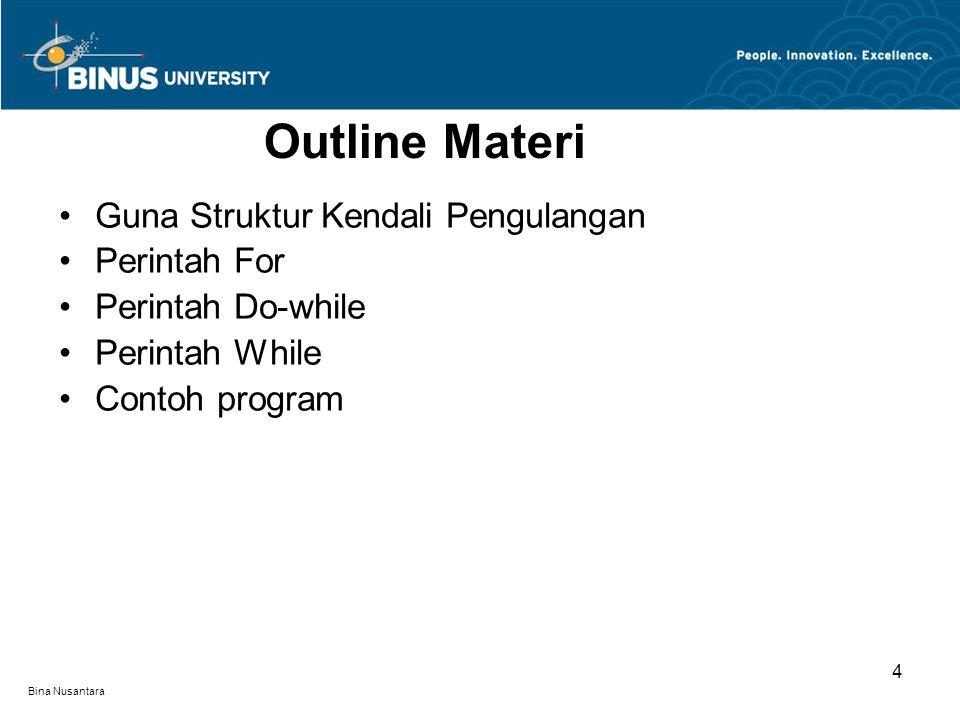 Bina Nusantara Merupakan fasilitas bahasa C++ yang mampu melakukan proses pengulangan, karena itu komputer dapat mengerjakan proses berulang-ulang dengan cepat, tepat dan tanpa lelah.