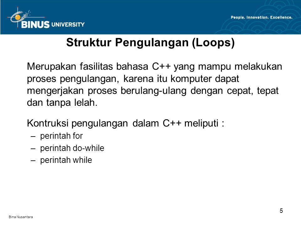 Bina Nusantara C++ memiliki dua jenis pengulangan for - fixed dan conditional.