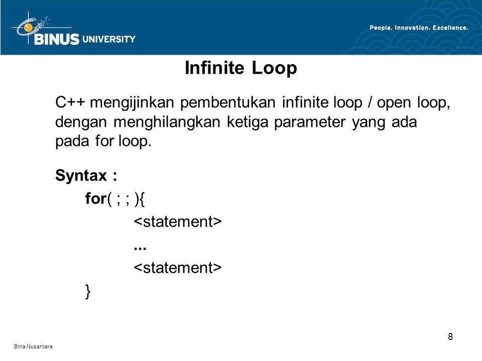 Bina Nusantara C++ mengijinkan pembentukan infinite loop / open loop, dengan menghilangkan ketiga parameter yang ada pada for loop. Syntax : for( ; ;