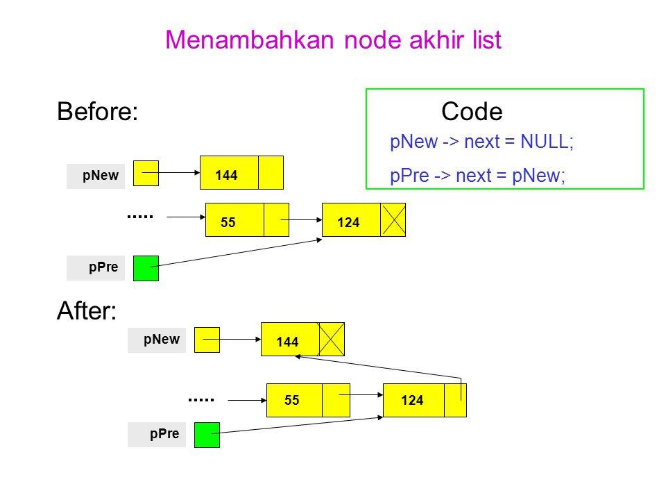 Menambahkan node akhir list Before: Code pNew -> next = NULL; pPre -> next = pNew; After: 144pNew pPre 55124 144 pNew pPre 55124