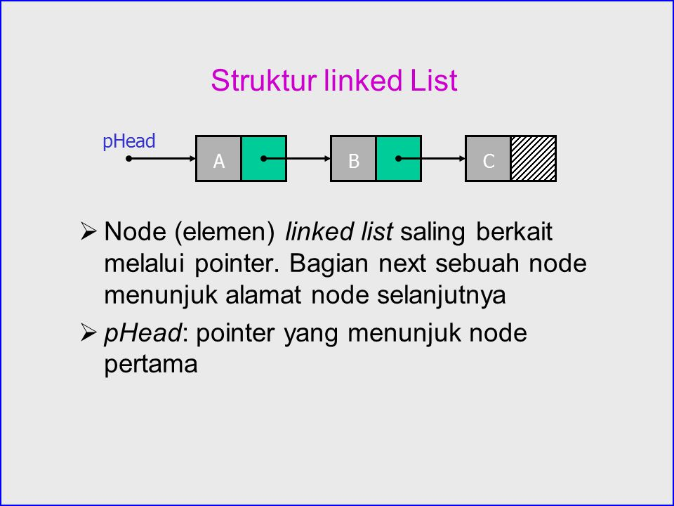 Kode untuk menghapus node dari linked list Untuk menghapus node dari linked list, harus diketahui head pointer (pHead), node yang akan dihapus (pCur), serta pendahulunya, //delete a node from a linked list if (pPre == NULL) //deletion is on the first node of the list pHead = pCur -> next; else //deleting a node other than the first node of the list pPre -> next = pCur -> next; free(pCur).