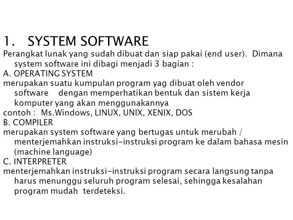 1. SYSTEM SOFTWARE Perangkat lunak yang sudah dibuat dan siap pakai (end user). Dimana system software ini dibagi menjadi 3 bagian : A. OPERATING SYST