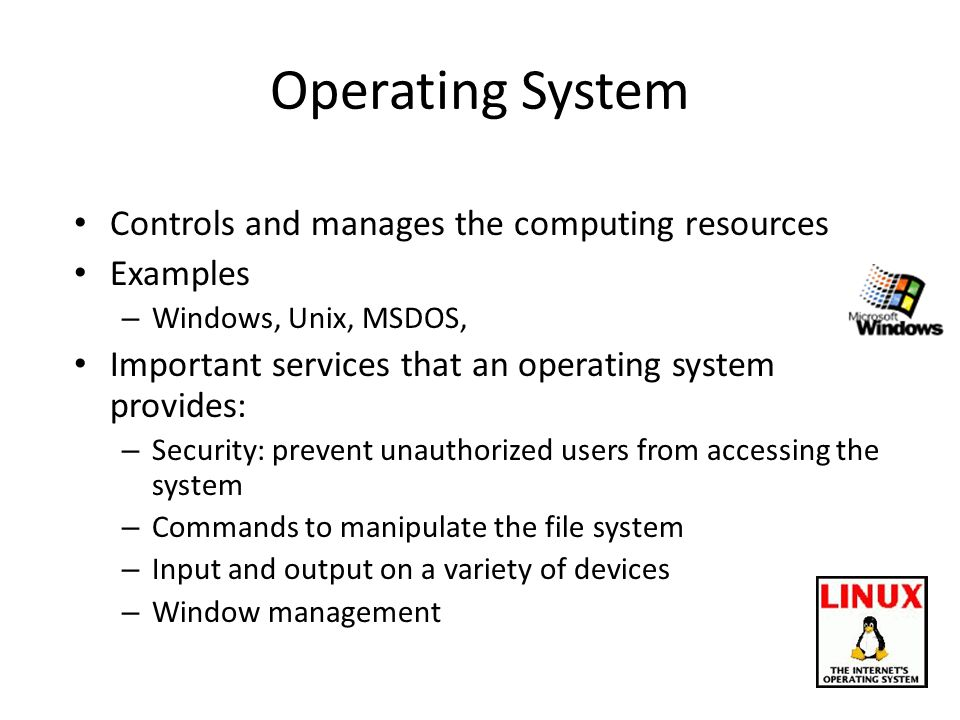 Operating System Controls and manages the computing resources Examples – Windows, Unix, MSDOS, Important services that an operating system provides: – Security: prevent unauthorized users from accessing the system – Commands to manipulate the file system – Input and output on a variety of devices – Window management
