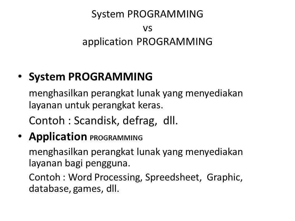 System PROGRAMMING menghasilkan perangkat lunak yang menyediakan layanan untuk perangkat keras. Contoh : Scandisk, defrag, dll. Application PROGRAMMIN