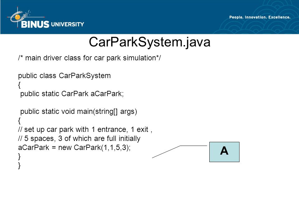 CarParkSystem.java /* main driver class for car park simulation*/ public class CarParkSystem { public static CarPark aCarPark; public static void main(string[] args) { // set up car park with 1 entrance, 1 exit, // 5 spaces, 3 of which are full initially aCarPark = new CarPark(1,1,5,3); } A