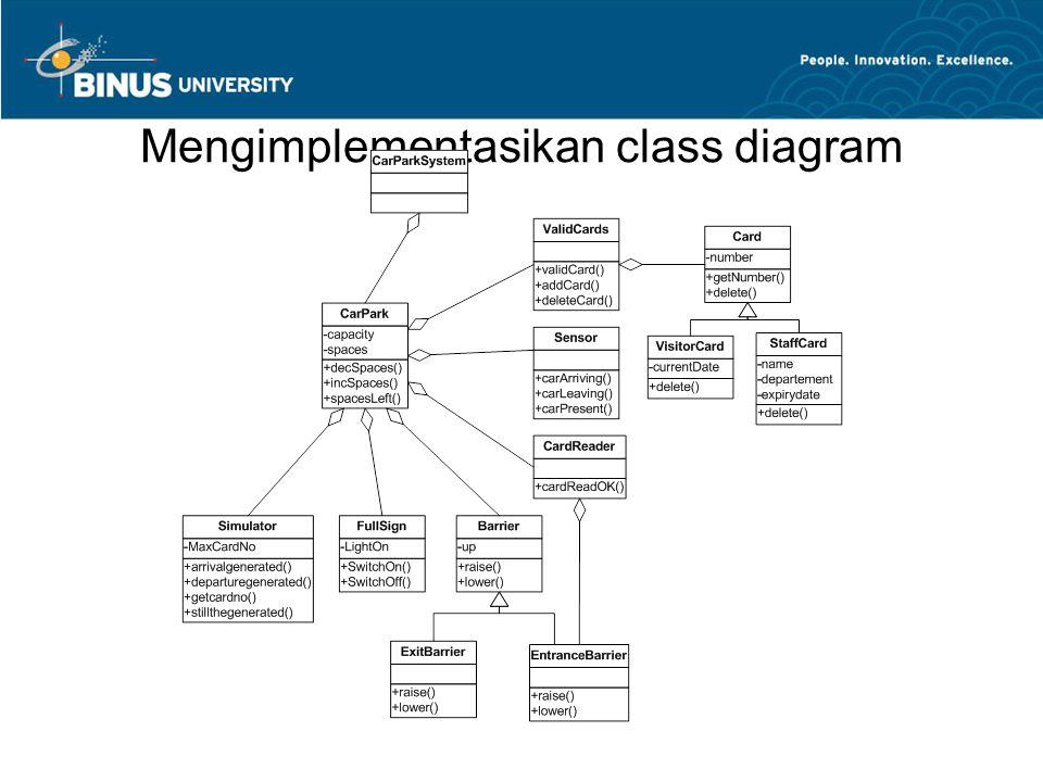 Mengimplementasikan class diagram