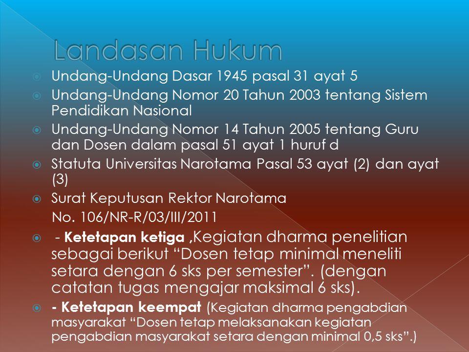  Undang-Undang Dasar 1945 pasal 31 ayat 5  Undang-Undang Nomor 20 Tahun 2003 tentang Sistem Pendidikan Nasional  Undang-Undang Nomor 14 Tahun 2005