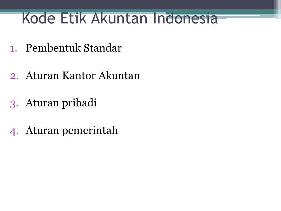 Kode Etik Akuntan Indonesia 1.Pembentuk Standar 2.Aturan Kantor Akuntan 3.Aturan pribadi 4.Aturan pemerintah