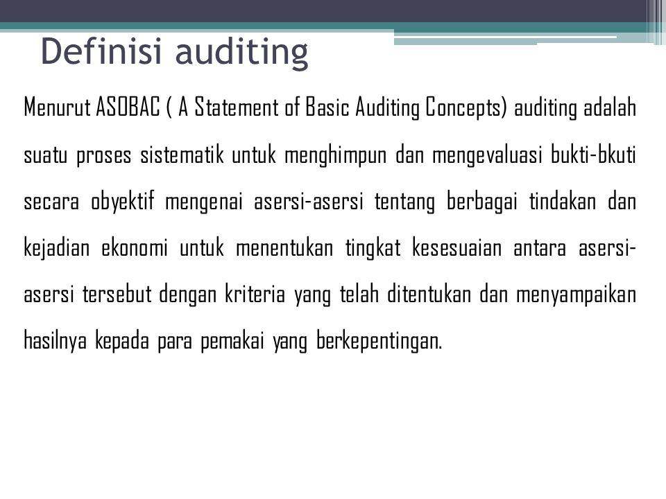 Ada 7 elemen yang harus diperhatikan dalam melaksanakan audit 1.Proses yang sistematik 2.Menghimpun dan mengevaluasi bukti secara obyektif 3.Asersi-asersi tentang berbagai tindakan dan kejadian ekonomi 4.Menentukan tingkat kesesuaian 5.Kriteria yang ditentukan 6.Menyampaikan hasil-hasilnya 7.Para pemakai yang berkepentingan