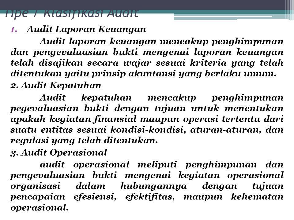 Tipe / Klasifikasi Audit 1.Audit Laporan Keuangan Audit laporan keuangan mencakup penghimpunan dan pengevaluasian bukti mengenai laporan keuangan tela
