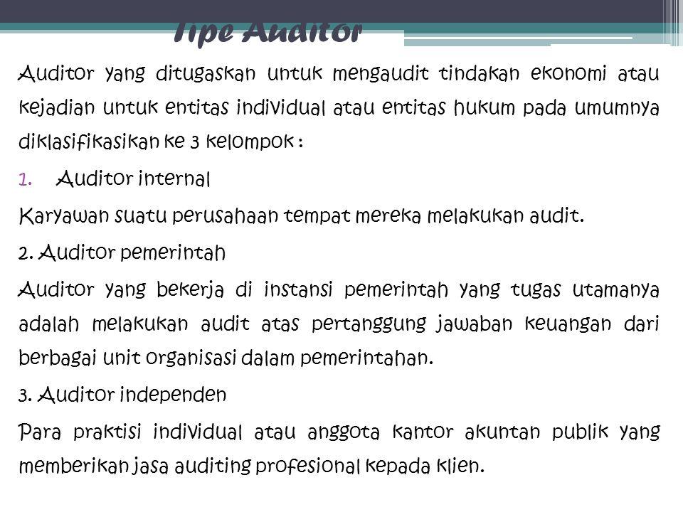 Tipe Auditor Auditor yang ditugaskan untuk mengaudit tindakan ekonomi atau kejadian untuk entitas individual atau entitas hukum pada umumnya diklasifi