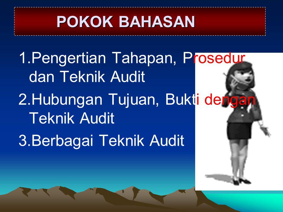 POKOK BAHASAN POKOK BAHASAN 1.Pengertian Tahapan, Prosedur dan Teknik Audit 2.Hubungan Tujuan, Bukti dengan Teknik Audit 3.Berbagai Teknik Audit