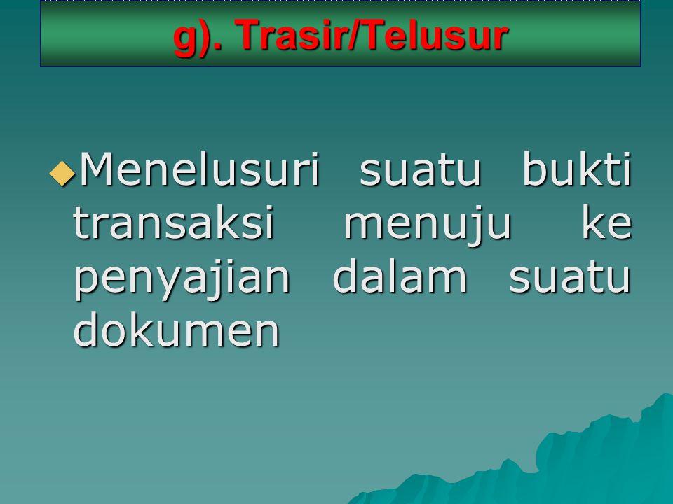 g). Trasir/Telusur  Menelusuri suatu bukti transaksi menuju ke penyajian dalam suatu dokumen