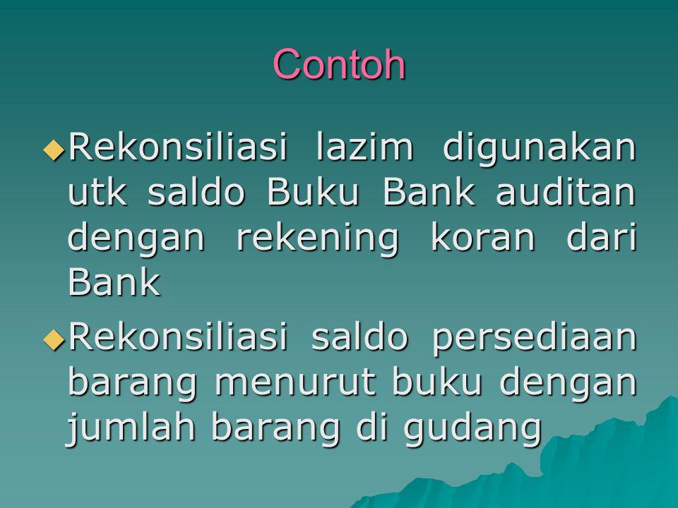 Contoh  Rekonsiliasi lazim digunakan utk saldo Buku Bank auditan dengan rekening koran dari Bank  Rekonsiliasi saldo persediaan barang menurut buku dengan jumlah barang di gudang