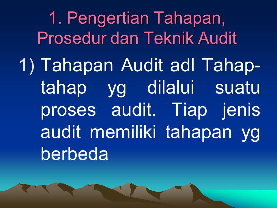 1. Pengertian Tahapan, Prosedur dan Teknik Audit 1)Tahapan Audit adl Tahap- tahap yg dilalui suatu proses audit. Tiap jenis audit memiliki tahapan yg