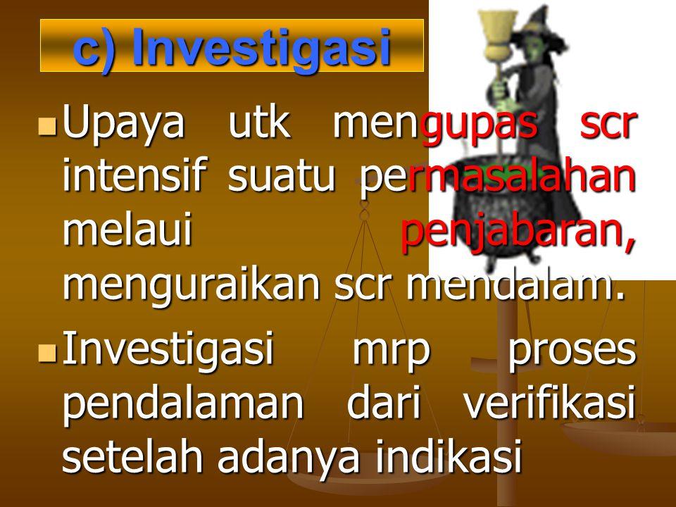c) Investigasi Upaya utk mengupas scr intensif suatu permasalahan melaui penjabaran, menguraikan scr mendalam. Upaya utk mengupas scr intensif suatu p
