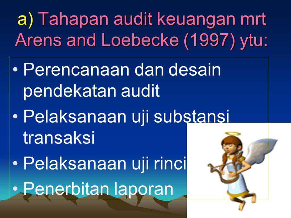 a) Tahapan audit keuangan mrt Arens and Loebecke (1997) ytu: Perencanaan dan desain pendekatan audit Pelaksanaan uji substansi transaksi Pelaksanaan uji rinci Penerbitan laporan