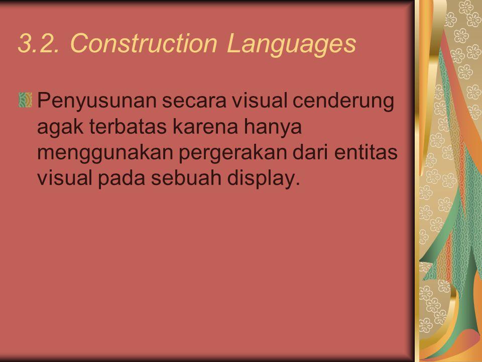 3.2. Construction Languages Penyusunan secara visual cenderung agak terbatas karena hanya menggunakan pergerakan dari entitas visual pada sebuah displ