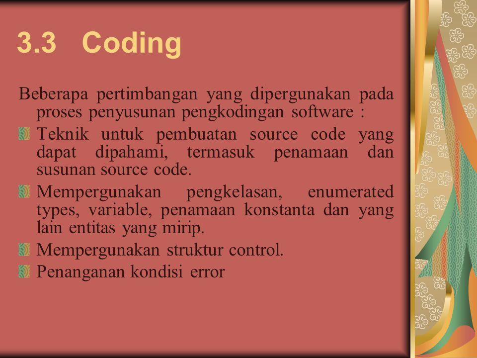 3.3 Coding Beberapa pertimbangan yang dipergunakan pada proses penyusunan pengkodingan software : Teknik untuk pembuatan source code yang dapat dipaha