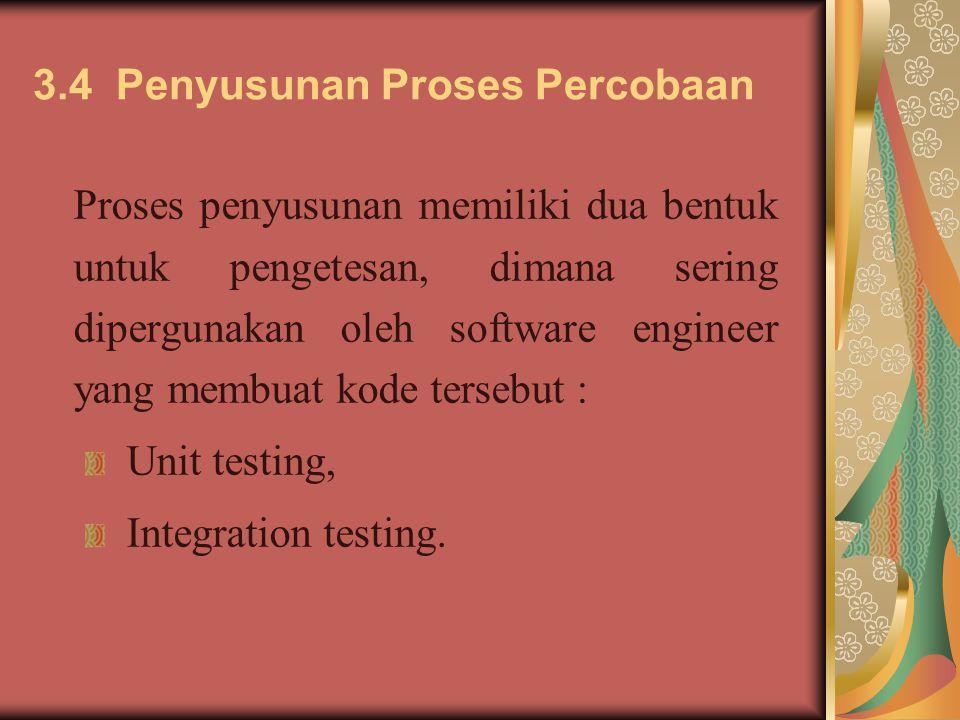 3.4 Penyusunan Proses Percobaan Proses penyusunan memiliki dua bentuk untuk pengetesan, dimana sering dipergunakan oleh software engineer yang membuat kode tersebut : Unit testing, Integration testing.
