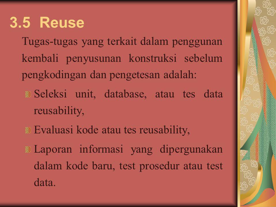 3.5 Reuse Tugas-tugas yang terkait dalam penggunan kembali penyusunan konstruksi sebelum pengkodingan dan pengetesan adalah: Seleksi unit, database, atau tes data reusability, Evaluasi kode atau tes reusability, Laporan informasi yang dipergunakan dalam kode baru, test prosedur atau test data.