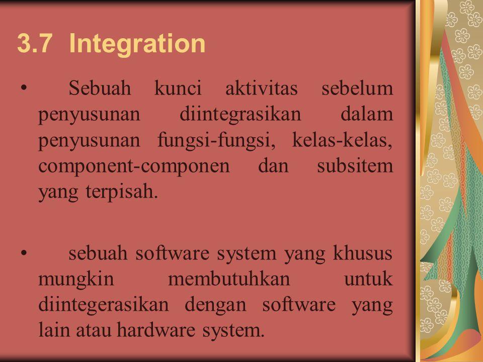 3.7 Integration Sebuah kunci aktivitas sebelum penyusunan diintegrasikan dalam penyusunan fungsi-fungsi, kelas-kelas, component-componen dan subsitem yang terpisah.