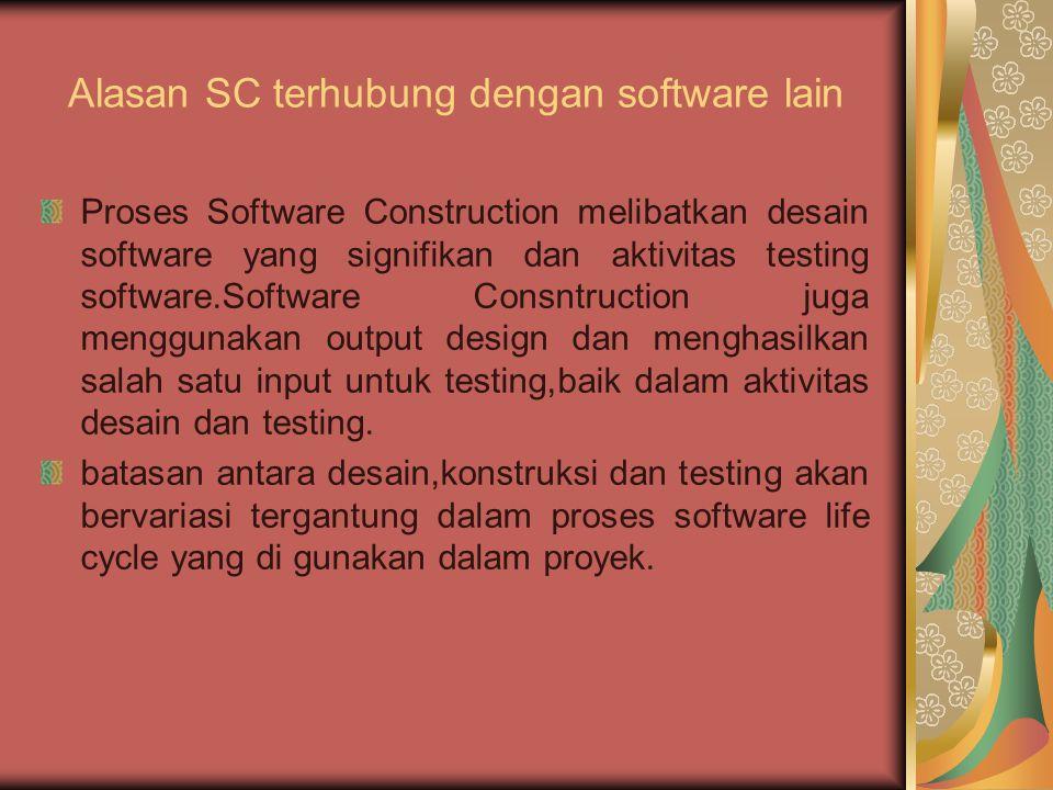 Software Construction Fundamentals 1.1 Minimizing Complexity 1.2 Anticipating Change 1.3 Constructing for Verification 1.4 Standards in Construction digunakan untuk mendesain seperti juga untuk construction menjabarkan konsep dan mendeskripsikan bagaimana ketiganya digunakan dlm pembangunan.